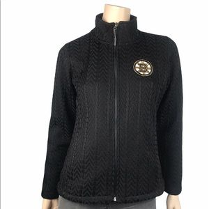 NHL Boston Bruins Black Knit Jacket Full Zip Top